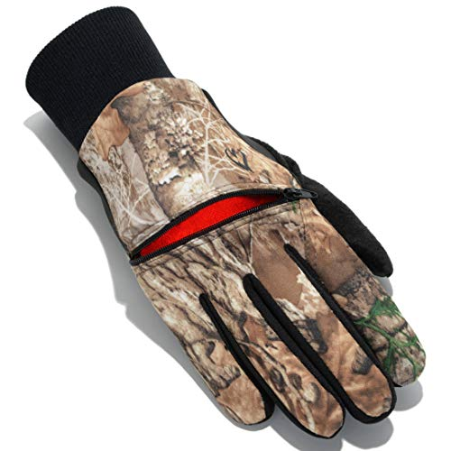 HotMocs Men's Stretch Fleece Touch Gloves – Winter Integrated Heater Pack Pocket for Outdoors