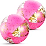 16 Inch Inflatable Glitter Beach Ball Confetti Beach Balls Swimming Pool Party Balls Pink Beach Sand Balls for Adult Boys Girls Summer Beach Water Play Toy, Pool Hawaii Luau Party Favor (2 Pieces)