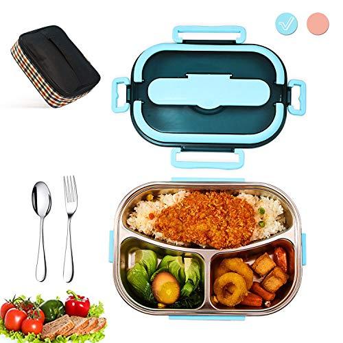 Lunch Box 1500ml,Boîte à bento inoxydable 304,Boîte à lunch étanche Avec Sac Isolant, boîte à Lunch Chauffant au Micro-Ondes. Convient pour l'école, Travail et pique-nique(Bleu)