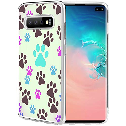 Dog Case Compatible for Galaxy S10 Plus,Ecute Clear Soft Slim Style Hard Back Case Cover for Samsung Galaxy S10 Plus 2019- Dog Paw Prints Pet Lovers
