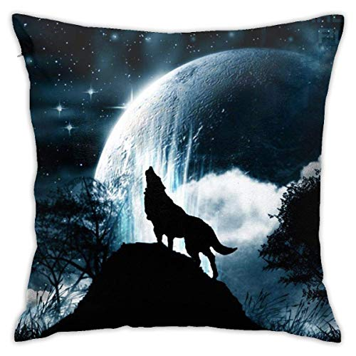 Wolf Howling at The Moon Soft Square Throw Pillow Covers Cushion Case 45X45CM
