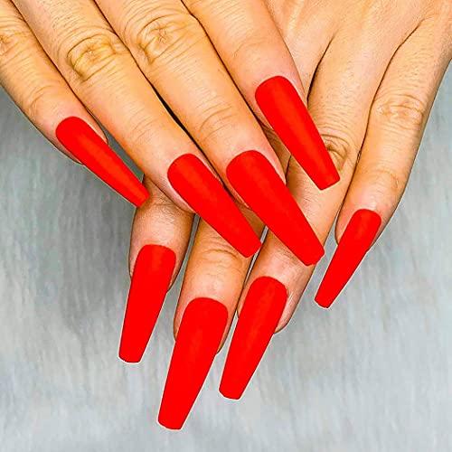 Brishow Künstliche Nägel Lange Matt Ballerina Falsche Nägel Acryl Full Cover Stick auf die Nägel 24 Stück für Frauen und Mädchen (Rot)