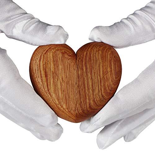 aufodara Herz Holz Ring Box Personalisiert Schmuckschatulle Hochzeit Ringbox Handgemacht (Rot)