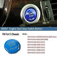 車のエンジン始動スイッチボタンのステッカーfor X6 E71 E72 x3 for E83 x1 E84 E90 for E60 E92 E93 E93 E93 E81 E81 E87 Mアクセサリー (Color : E Chassis Blue)
