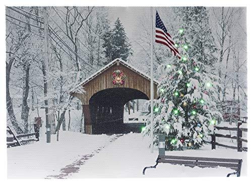 Oak Street OSW186420 Kunstdruck auf Leinwand mit LED-Beleuchtung, 6-St&en-Timer, 20,3 x 15,2 cm, bedeckte Brücke mit USA-Flagge