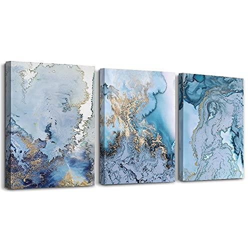 Abstrakte Leinwand Bilder für Wohnzimmer Blau und Weiß Kunstdrucke Wanddekoration für Schlafzimmer Büro Esszimmer Küche Gerahmte Gemälde für Heimtextilien