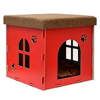 EYEPOWER Niche à Chien Dôme pour Chat 38x38x38cm Petite Maison S boîte carrée avec Couvercle rembourré pour s'asseoir Repose-Pied Rouge