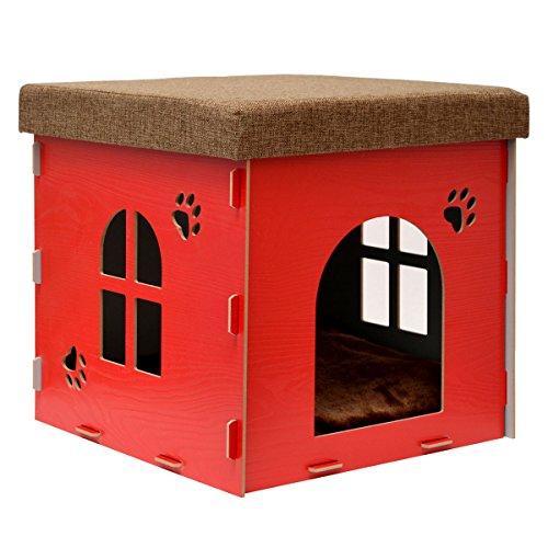 EYEPOWER stabile Katzenhöhle 38x38x38cm Sitzhocker Sitzwürfel inkl Katzenhaus Holz Kuschel Höhle Fuer Hunde Katzen Rot
