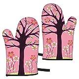 Ye Hua Guantes de Barbacoa para Horno, Color Rosa Brillante, con Relleno de algodón Reciclado, Guantes Antideslizantes para cocinar, cocinar, Hornear, Asar a la Parrilla
