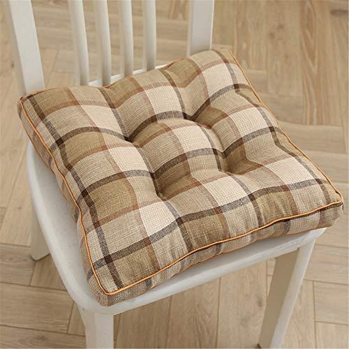 RAILONCH Cojín de asiento para silla, cojín grueso de lino, cojín de asiento, cojín decorativo para silla de jardín, cojín acolchado para tatami, jardín, 40 x 40 cm (beige + gris + camel)