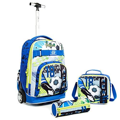 Kinder Rucksack mit Rädern, 3 in 1 Schulranzen Trolley Set Fußball Schultasche mit Mittagessen Umhängetasche Bleistiftetui Multifunktions Trolley Rucksack für Teenager Jungen Mädchen