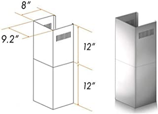 Wall Mount Range Hood Extension for 7ft to 8ft Ceilings | Adjustable Chimney Short Kit, 2 Pieces | Brushed Stainless Steel - 9.2
