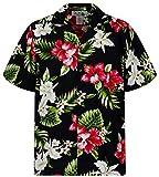 KY´s Original Camisa Hawaiana, Hibiscus Allover, negro 3XL