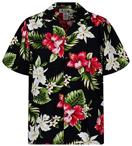 KY's Original Hawaiihemd, Roter Hibiskus Allover, Schwarz, M
