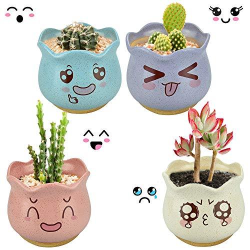 EMAGEREN 4 pcs Macetas para Suculentas Maceta Cactus Macetas de Ceramica Pequeñas de Estilo Lindo Maceteros Pequeños con Bandeja Redonda de Bambú para Suculenta Decoración de Hogar Oficina, 4 Colores