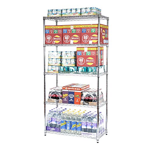 Racking Solutions HEAVY DUTY – Chrome Wire 5 Tier Shelving unit – Commercial Quality – Amazing 500KGs Storage capacity…