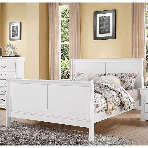 Pumpumly Louis Philippe III Queen Bed in White