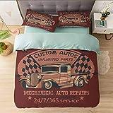 Juego de funda de edredón para cama completa, North Truck mecánico Auto Reparaciones Custom Autos Vintage, Ultra suave y fácil de cuidar, transpirable, acogedor y sencillo estilo de cama