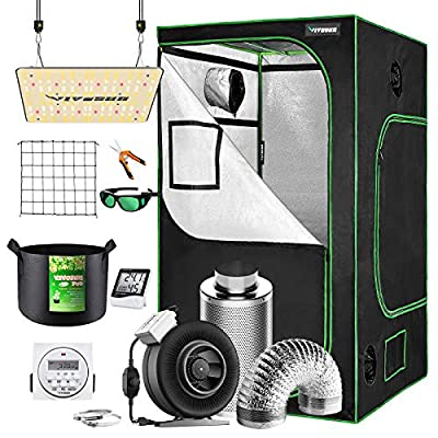 """VIVOSUN Grow Tent Complete Kit, 48""""x48""""x80"""" Growing Tent with VS1000 Led Grow Light 6 Inch 440CFM Inline Fan Carbon Filter and 8ft Ducting Combo"""