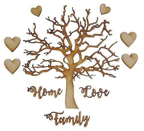 Alchemy - Kit de árbol de Madera de Roble, Grabado Limitado, árbol genealógico con Palabras Family, Love y Home y Placa con Nombre de corazón - Kit Completo