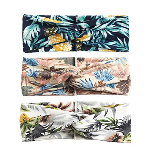 Zoestar Stirnband im Boho-Stil, gekreuzt, Blumenmotivdruck, Kopfwickel, Knoten, Turban, Haarband, modisch, elastisch, für Damen und Mädchen (3er-Pack)