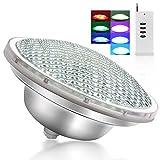 Roleadro 21w Par56 Luz de Piscina con Mando a Distancia IP68 Sumergible Led para Piscinas Multicolor Luz RGB para Nicho[12-24V]
