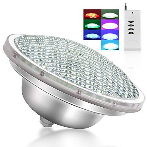 Roleadro 21w Par56 Luz de Piscina con Mando a Distancia, IP68 Sumergible Led para Piscinas Multicolor Luz RGB para Nicho12V CA CC [Clase de eficiencia energética A+++]