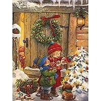 5Dダイヤモンド絵画キット、家の壁の装飾のためのクロスステッチフルドリルクリスタルラインストーン絵画刺繡クリスマスギフト(正方形、40×50cm)