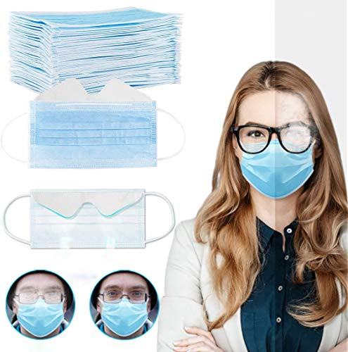 Gokeop 3-ply BFE≥95% Disposable Face_Masks for People with Glasses Anti-fog Breathable Face Protection with Nose Wire Mouth Dustproof Face Bandanas for Women Men (100Pcs, Blue)