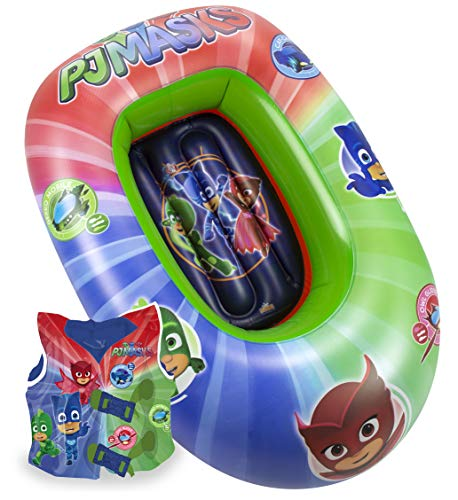 Saica - Set Barca Y Chaleco HINCHABLES para Niños y Niñas PJ Masks - Medias Barca 90 cm y Chaleco: 35x30 cm