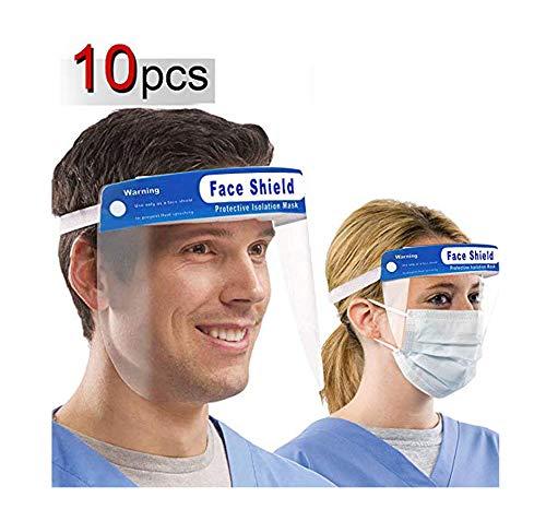 10 pezzi riutilizzabili per il viso – schermatura e protezione trasparente – protegge occhi e viso con fascia elastica trasparente