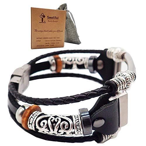 Smatiful Versa Cinturino with Metallo Beads for Donna Un Uomo, Adjustable Replacement Accessori Sport Strap per Fitbit Versa 1,2 & Lite Orologi,Classic Nero Black