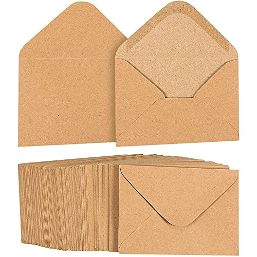 100 Pack Juvale Small Kraft Paper A1 Envelopes for 3x5 inch Cards Wedding Baby Shower Invitations