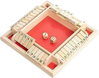 NUOBESTY 4 zijdige Shut The Box Game,Houten Bordspellen met Dobbelstenen voor Familienacht,Leren Nummers Toevoeging 4 Shot...