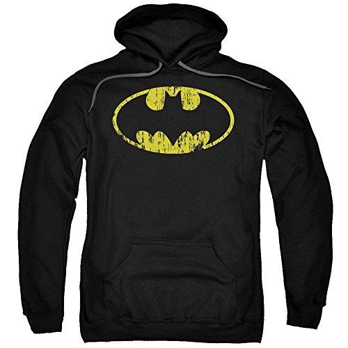 Batman - - Logo classique pour hommes Distressed Hoodie, Large, Black