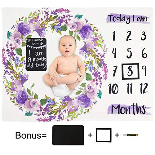 Beinou Monatliche Meilenstein Decke Baby Monats Decke Flanell Neugeborenen Foto Decke DIY Fotografie Requisiten Hintergrund Monatsdecke Swaddle Wrap Decken Dusche Geschenk Mädchen Jungen 130 x 102 cm
