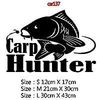 カースタイリングカーウィンドウビニール接着剤ステッカー、色名におかしい囲碁釣りや鯉ハンターカーステッカーステッカー3Dカースタイリング装飾:11、サイズ:12CM、スタイル:8 - シルバー (Color : 18, Size : 12CM)