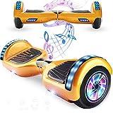 Magic Vida Patinete Electrico Overboard Bluetooth 6.5 Pulgadas Motor Ruedas 700W Scooter Electrico con Luz LED Regalo para Niños y Adultos (Dorado)