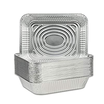 "BYBAIZ Aluminum foil Pans(36Pcs) Disposable Food Containers.Campfire Camp cookware, for BBQ Grill,Meal Cooking, Baking, Roasting, Grilling, Pizza,Cookies,Buns,Buffet Trays(12.75""X10.25""X2.5"")"