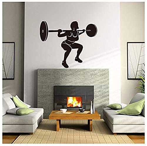 Moda moderna pegatinas de pared calcomanías de pared personalizadas mujeres levantamiento de pesas pegatinas de sala de estar pegatinas de arte de fondo 57 * 69Cm