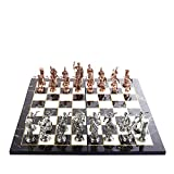 Historical Antique Copper Rome Figures Metal Chess Set for Adults, Handmade Pieces and Marble Design Wood Chess Board King 4 inc