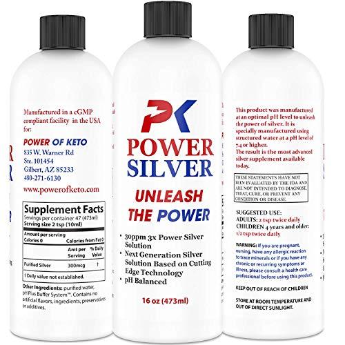 PK Power Silver Solution 30ppm Alkaline Immune Support Colloidal Mineral Supplement 16 Oz
