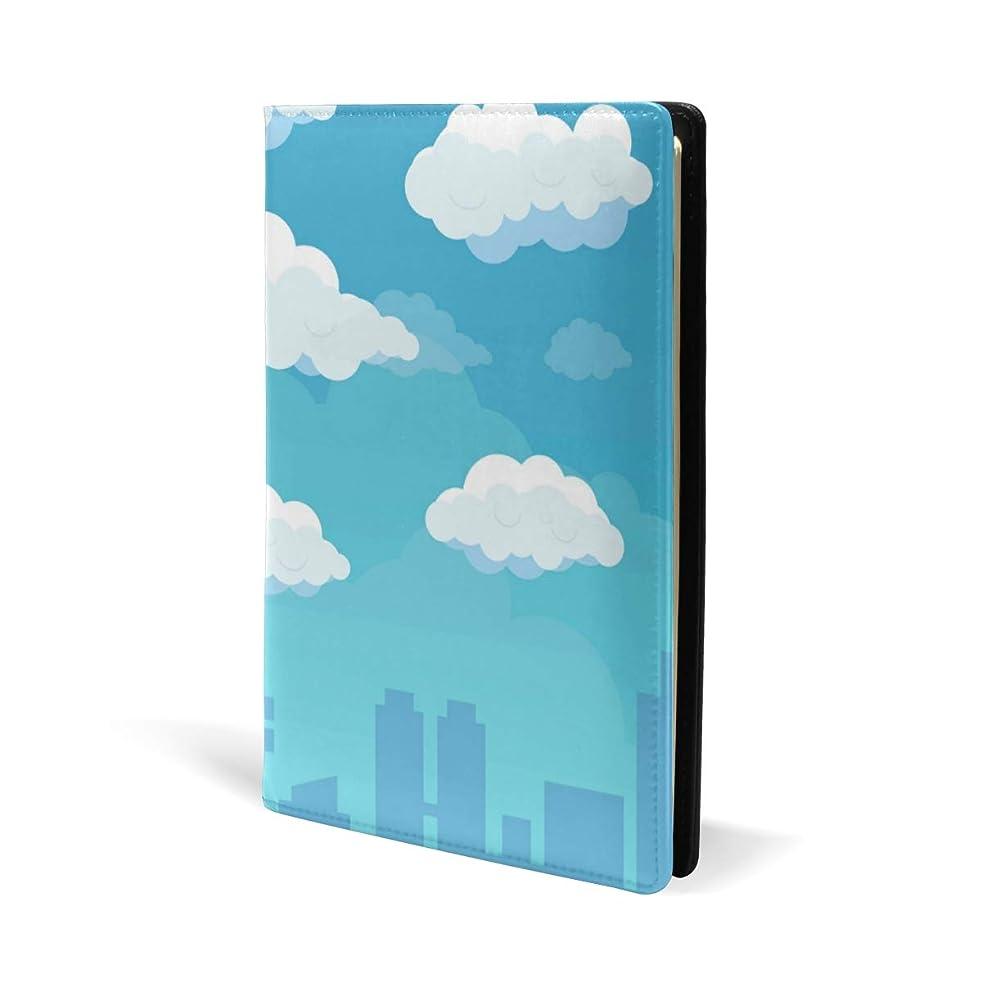 補正メドレー歌手ブックカバー a5 くも 青空 町 文庫 PUレザー ファイル オフィス用品 読書 文庫判 資料 日記 収納入れ 高級感 耐久性 雑貨 プレゼント 機能性 耐久性 軽量