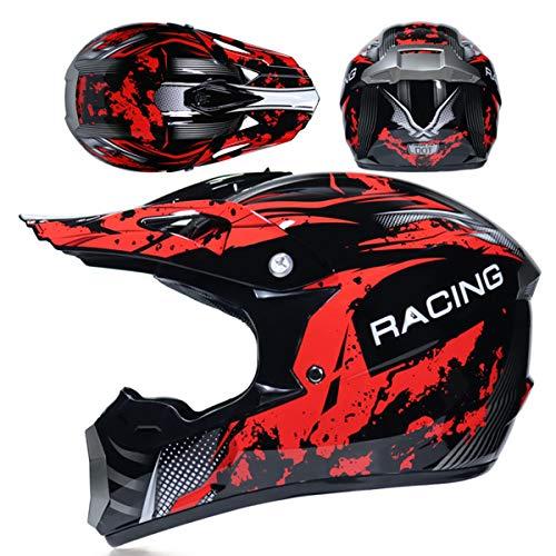 Schwarz Rot Fullface Motocross Helm, Kinder Jugend Erwachsene Männer Frauen...