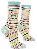 Blue Q Women's Crew Socks, Shhh…I'm Overthinking (fits shoe size 5-10)