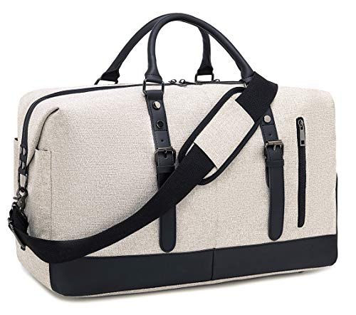 BLUBOON Weekender Overnight Bag Lightweight Travel Duffle Bag for Men Womens Carry On Tote Bags (Beige)
