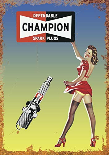 Champion Spark Plug Metal Advert Sign Vintage Garage Workshop Shed Plaque (Size Small A5 (200x150mm))