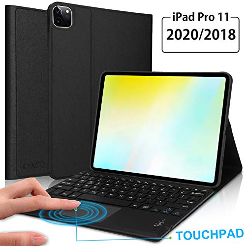"""Newest iPad Pro 11"""" Keyboard Case with Touchpad 2020 / 2018 (2nd / 1st Generation) -KVAGO Touchpad Keyboard Bluetooth Slim Folio Smart Leather Cover for 2020 iPad Pro 11 -Black"""