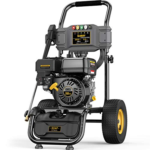 BLUBERY 3500PSI Gas Pressure Washer, 13'' Pneumatic Anti-Skid Tires, 50FT Hose&Soap Container, 2.6GPM 212CC Power Washer, 5 Adjustable Nozzles, CARB&EPA CERT