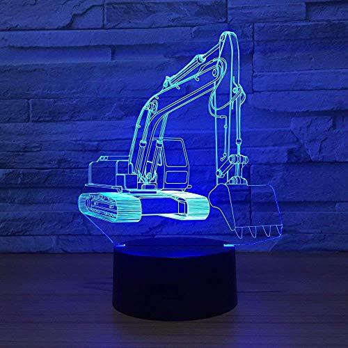 Excavator 7-Color Light 3D Visual Led-nachtlampje, geschikt voor kinderen om aan te raken, USB-tafellamp en nachtlampje
